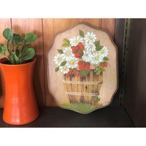 #newtocloset Vtg Daisy Strawberry Wood Painting